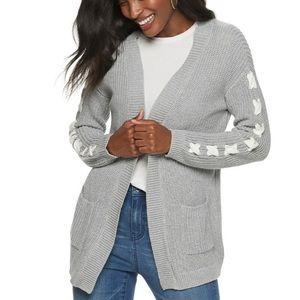 NWT Jennifer Lopez Lace-Sleeve Sweater Cardigan